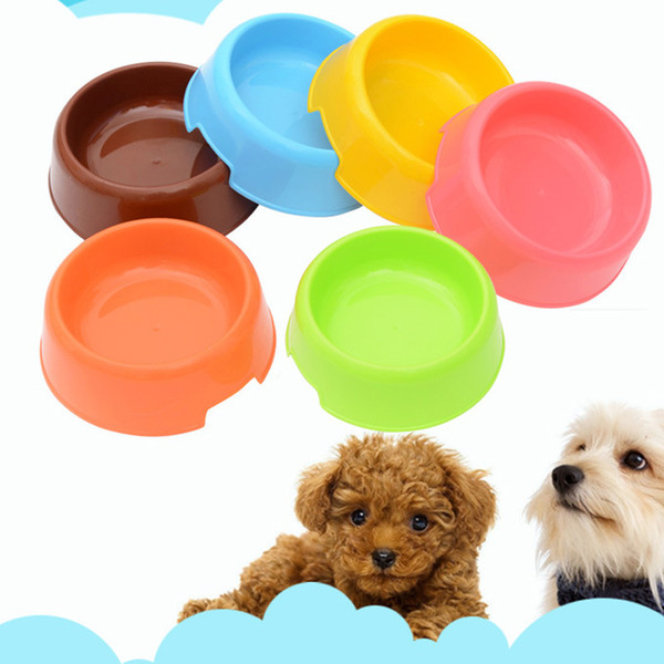 top popular Candy Color Plastic Dog Feeding Bowl Cat Puppy Food Dish Pet Drink Water Bowl Non Slip Eating Feeder for Small Dog 2021