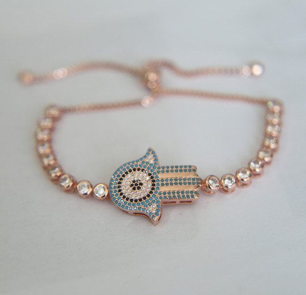 wholesale high quality AAA cz purple blue hamsa hand bracelet turkish jewelry turquoises stone tennis chain adjustable bracelets