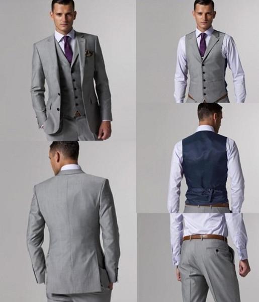Personalizar Slim Fit Groom Tuxedos Peak Lapel Light Grey Groomsmen Trajes Trajes de hombre (chaqueta + pantalón + chaleco) Para matrimonio Novio Esmoquin