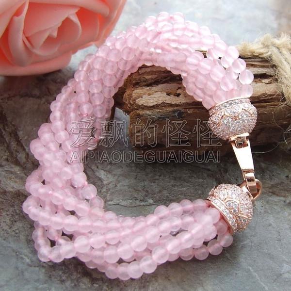 B010813 8'' 8 Strands Round Rose Crystal Bracelet