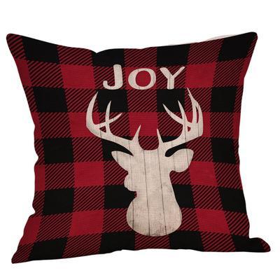 Copricuscino da pranzo di colore rosso in lino di cotone di cervo con motivo scozzese a forma di plaid per cuscino da viaggio per divano