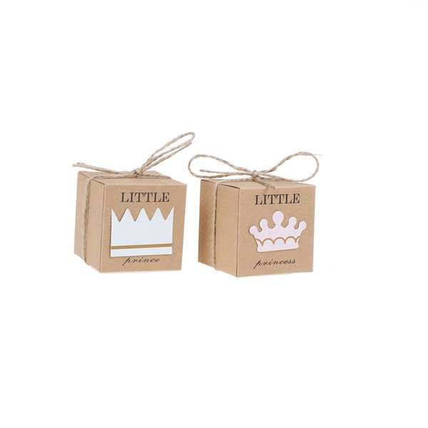 10 teile / los Crown Twine Kinder Baby Shower Party pralinenschachteln Hochzeit Bevorzugungen Liefert geschenkbox Kleine Prinz Prinzessin Pralinenschachtel