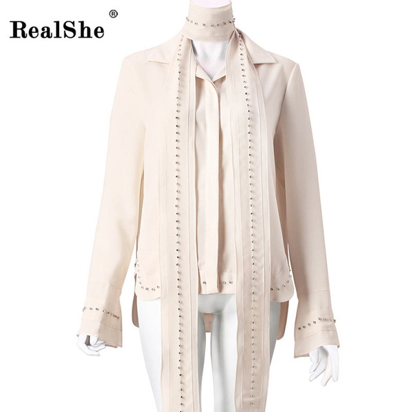 RealShe Chiffon Tshirt 2018 Nuevas Mujeres Tops Flare Sleeve Bow Cuello Camisas Casuales EleLady Diamonds T Shirt Beige Blusa