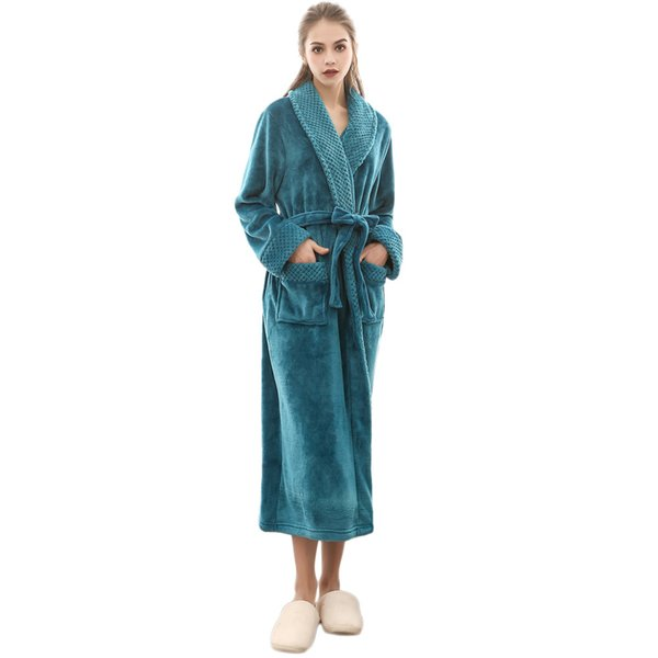 2018 Newly concise style Women Winter Lengthened Coralline Plush Shawl Bathrobe Long Sleeved Robe Coat Comfortable nightg OT30