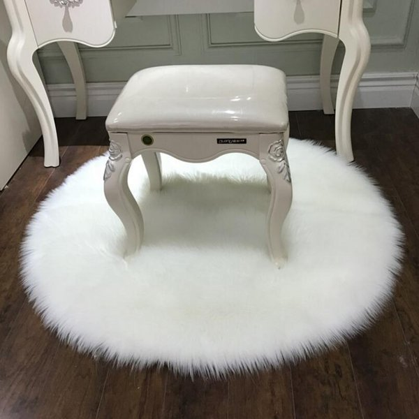 Artificial Faux Wool Fuzzy Soft Bedsides carpet Living Room floor mat anti-skid tea table foot pad bay window rug cushion Easy wash