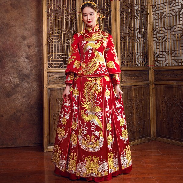 Exquisite SuZhou Embroidery Cheongsam Tang Suit Clothing Phoenix Chinese Rhinestone Bride Wedding Dress Gown Lady Oriental Qipao