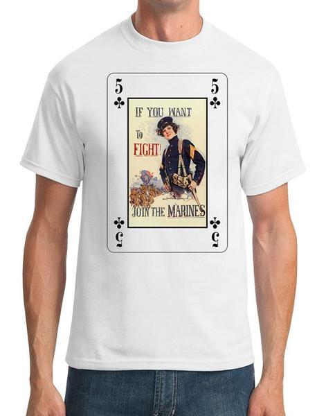 Camiseta de impresión de manga corta con cuello en O si desea luchar Únase a la camiseta de Marines Regular para hombres