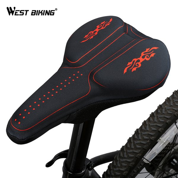 WEST BIKING 3D Silicon Gels Bike Saddle Cover Seat Cushion Bike Part Thick Breathable Pad Saddle Cycling Bicycle Covers