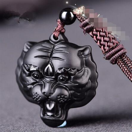 Natural Obsidian Tiger head Pendant Necklace Fashion Charm Jewelry Lucky Amulet