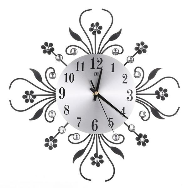S-home Modern Metal Wall Clock Flower Diamond Rhinestone Silent Room Home Office Decor Sep29
