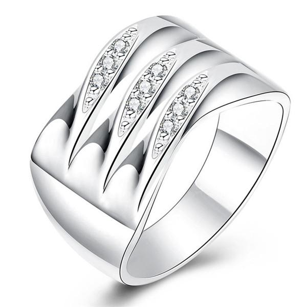 Hot New Design Silver CZ Diamond Finger Ring Size 7 # 8 # beautiful fashion jewelry cute street