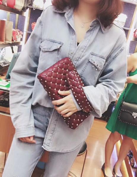 2019 new genuine leather high fashion handbag OL diamond lattice metallic full starts evening small bag women cluth bag wife Christmas gift