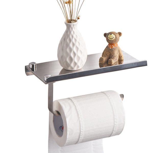 2018 Concise wall mounted toilet paper holders Bathroom fixture Stainless Steel roll paper holders With Phone shelf