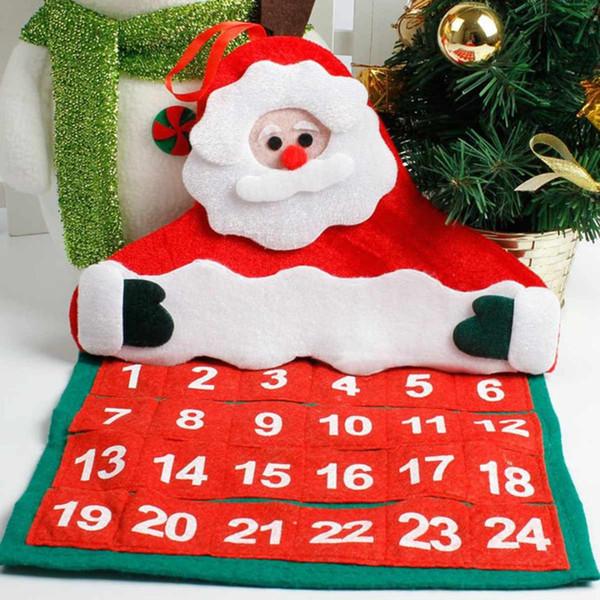 1Pcs Christmas Calendar Advent Santa Claus Tree Wall Door Pendant Hanging Ornament Craft Home Decorations New Year Gift