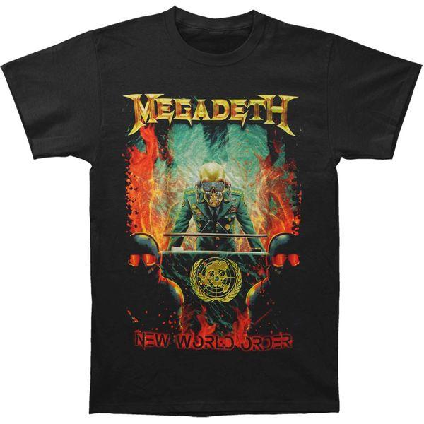 Megadeth Men's New World Order Mens Regular T T-shirt Black Print Harajuku Short Sleeve Men Top Novelty T Shirts Men'S Brand Clothing