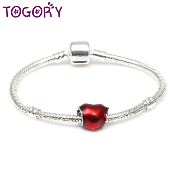 TOGORY Dropshipping Love Sprouts Charm Bracelet with Love Heart Crystal Ball Red Beads Fine Bracelets For Women Pulseira