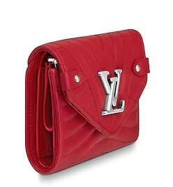 M63428 NEW WAVE COMPACT WALLET red Real Caviar Lambskin Chain Flap Bag LONG CHAIN WALLETS KEY CARD HOLDERS PURSE CLUTCHES EVENING