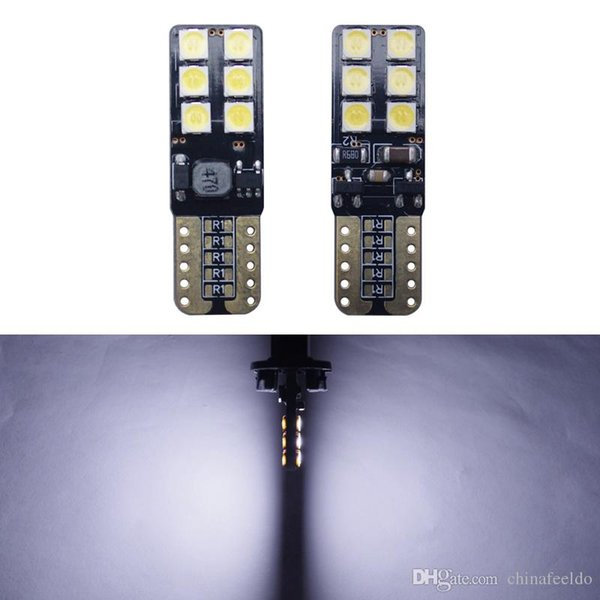 wholesale 9V-30V T10 194 W5W No Error Canbus LED Wedge 2-Side 3030 12LED Car Interior LED Bulb Light Side Lamp #5627