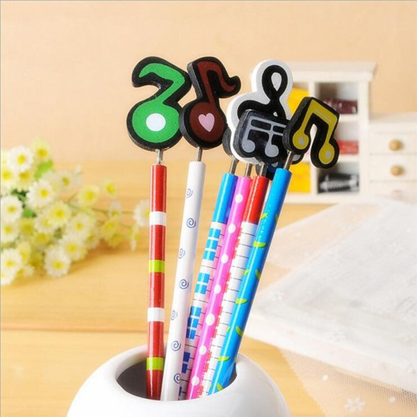 Adorable Music Design Pencil With Eraser Head Writing Drawing Tool School Office Supply Student Stationery Kids Gift
