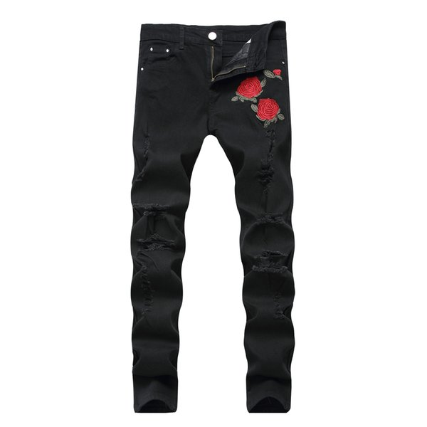 mens distressed Ripped Jeans with Embroidery Men with Flowers Rose Embroidered Men's Denim Jeans Stretch Slim Pants 1823