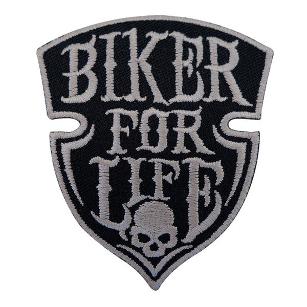 best selling Embroidery Patch Sew Iron On Biker For Life Punk Skull Rock Embroidered Patches Badges For Bag Jeans Hat T Shirt DIY Appliques Decoration
