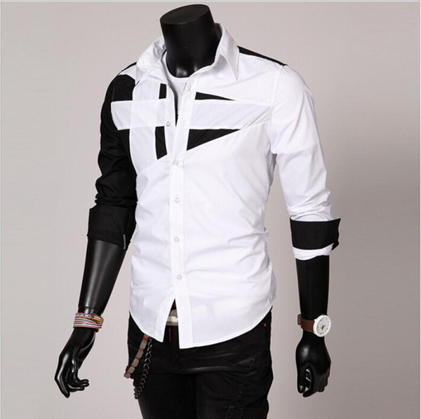 Hot Sale explosion models Korean men's trend Slim fashion personality stitching long-sleeved shirt 5 colors optional