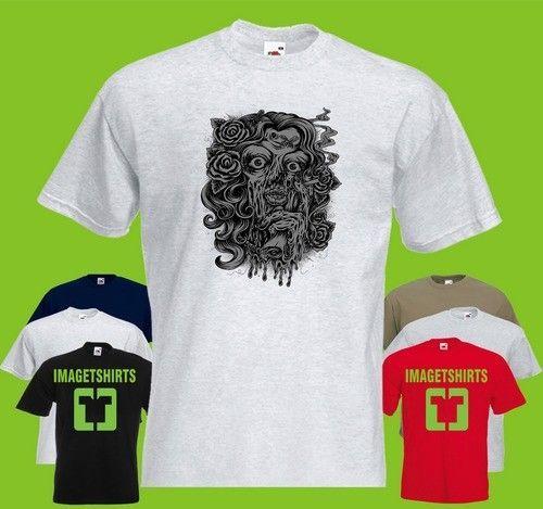 Lady zombie PRINTED T-SHIRT tee shirt tshirt art skull
