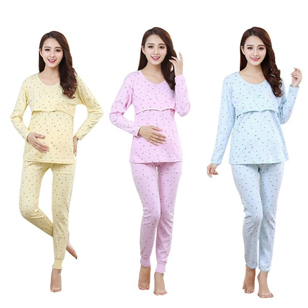9674cfa8cbe8a Cotton Pregnant Women Breastfeeding Pajamas Set Home Wear printing Clothes  and Pants Maternity Sleepwear Set for