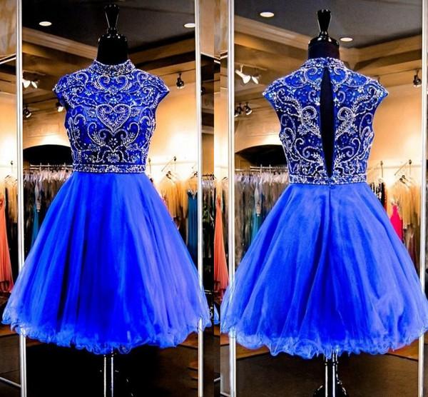Gorgeous Royal Blue Homecoming Vestidos Tul con cuentas Cuello alto Vestidos de fiesta Gorra Manga corta Vestidos de cóctel de fiesta corta DH4057
