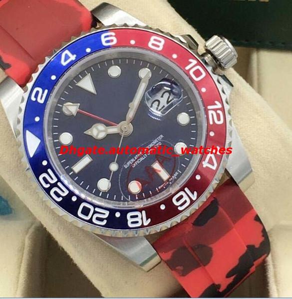 Lüks Saatler 2 Stil II 116719 Beyaz Altın Mavi Kırmızı 24 Saat Seramik Bezel Kauçuk Bilezik 40mm Otomatik Moda erkek Izle Yeni Stil