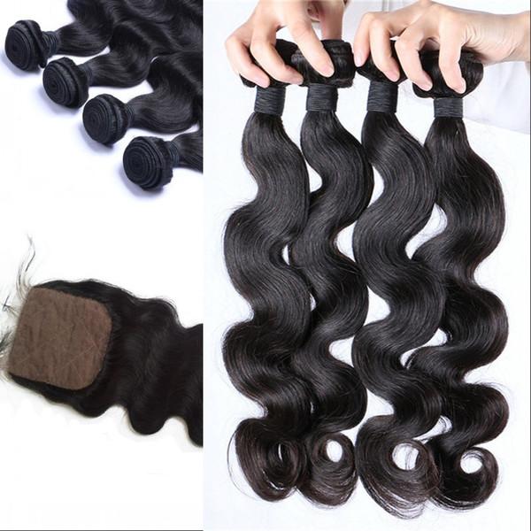 4pcs Body Wave paquetes de cabello humano con cierre de seda Bace Color natural Indian Virgin Hair LaurieJ Hair