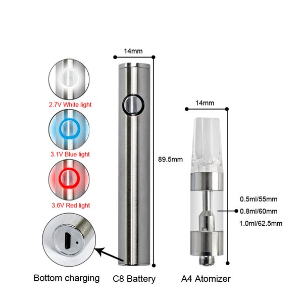2019 Special design Ceramic Coil A4 Cartridge 14mm Diameter oil vaporizer cartridge for Thick Oil fit ego EVOD battery cell battery
