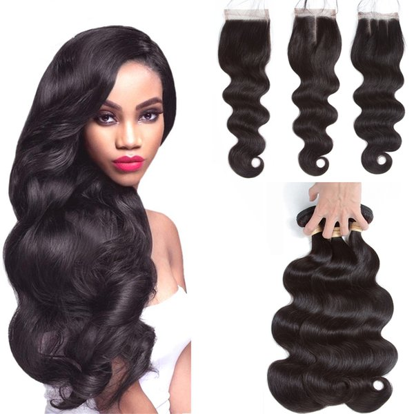 7A Peruvian Brazilian Raw Indian Hair Cuticle Aligned Hair Body Wave Remy Human Hair Wave Closure Dhgate