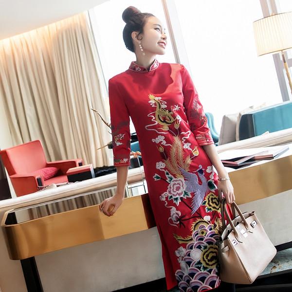 Ricamo Phoenix abito da sposa in stile cinese Qipao broccato