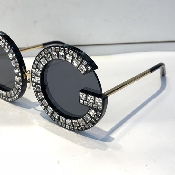 Luxe 6121 Lunettes De Soleil De Mode Femmes Diamant Fram Bling Bling 6121B Conception Grand Cadre Surdimensionné Modèle Objectif Rond Top Qualité UV400 Prétection