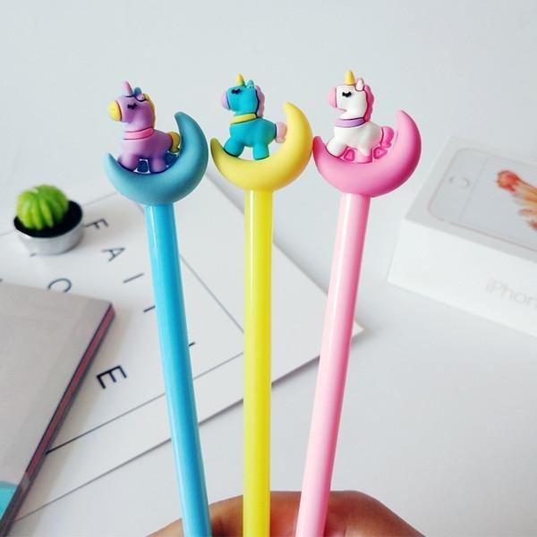 36 Pcs/Lot Color Moon & Unicorn Gel Pen 0.5mm Roller Ball Pen Black Ink Refill Kids Gift Stationery Office School Supplies Christmas Gift