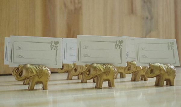 50pcs Golden Gold Lucky Elephant Place Card Holder Holders Name Number Table Place Wedding Favor Gift Unique Party Favors