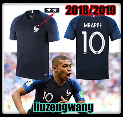 2 stars 2018 Mbappe jerseys Short sleeve 18 19 World Cup POGBA GRIEZMANN PAYET KANTE National Team shirts Size:S-XL