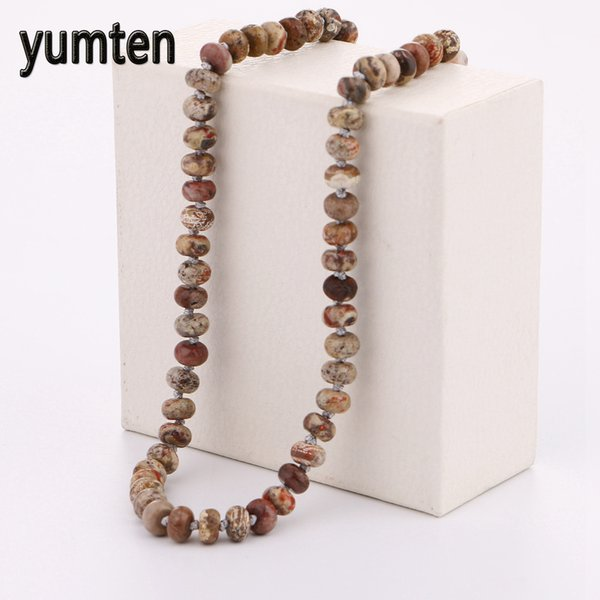 yumten picture stone power necklace natural round stone crystal women jewelry man the man gift gem harajuku gatos egypt fairy, Silver