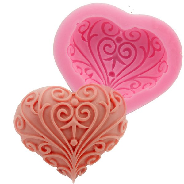 Wedding Love Heart Shape Silicone Mold Cake Decoration tools baking Fondant Mould handmade soap mold F0733