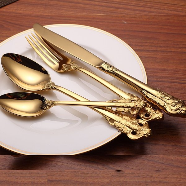 Vintage Western Gold Plated Dinnerware Dinner Fork Knife Set Golden Cutlery Set Stainless Steel 4 Pieces Engraving Tableware wn584A