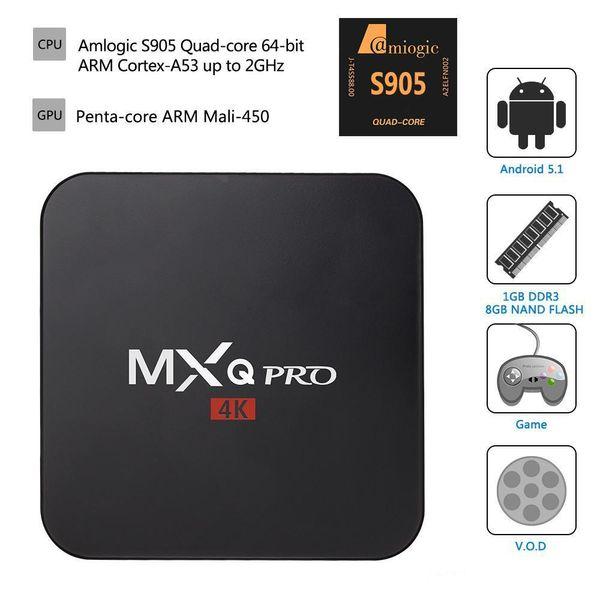 MXQ Pro Android 6.0 Amlogic S905 TV Box Quad-Core 1GB/8GB Bluetooth HDMI WIFI 4K 1080P HD Media Player dhl shipping