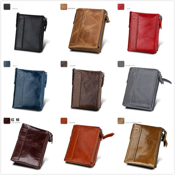 9colors 2018 Male Genuine Leather luxury wallet Casual Short designer Card holder pocket Fashion Purse wallets for men free shipping
