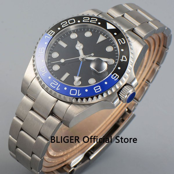 BLIGER 43mm Black Dial Blue Black Ceramic Bezel Sapphire Glass Luminous GMT Function Luxury Automatic Movement Men's Watch BC22