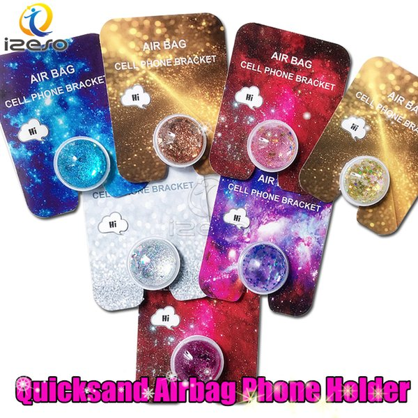 best selling Quicksand Glitter Phone Holder for iPhone XS Max Xr Samsung Note 10 360 Degree Universal Luxury Cellphone Holder Grip with Retail Packaging