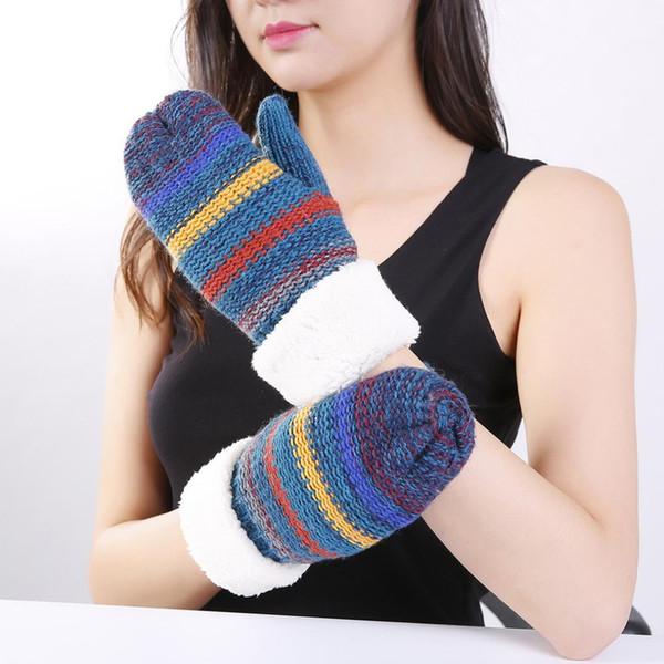Girls Winter Warm Gloves Students Warm Mittens Women's Striped Cashmere Knitted Luva Plus Velvet Thickening Ski Gloves B-9467