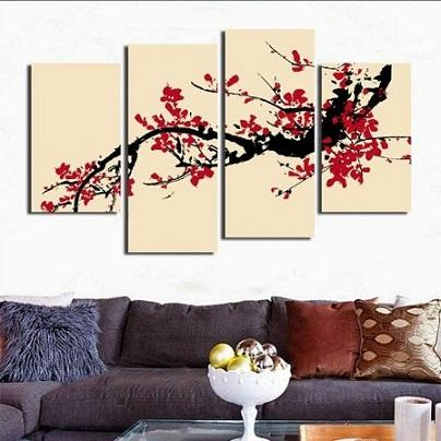 4 panel plum blossom Combination,HandPainted Mordern Abstract Wall Art Oil Painting Home Decor On Canvas Multi Sizes /frame Options 06