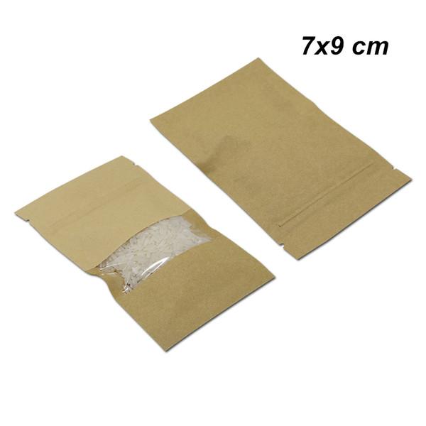 7x9 cm 100 pçs / lote Kraft Papel Reutilizável Zip Bloqueio Saco de Embalagem para Lanche Secas Porcas Limpar o Ofício Da Janela de Papel Auto Vedação de Embalagem De Armazenamento Bolsa