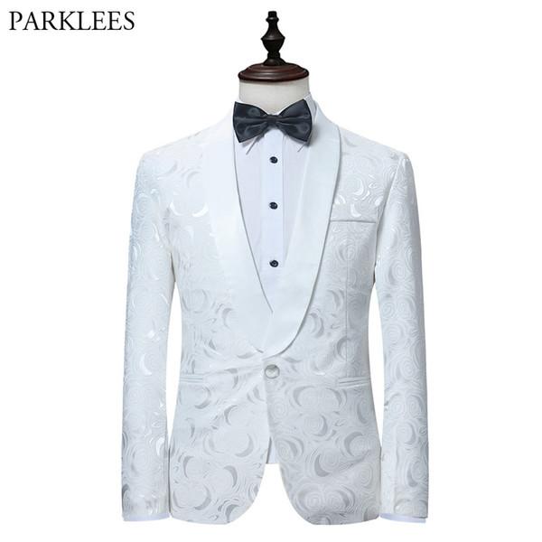 White Rose Jacquard Blazer Men 2018 Brand New Single Button Shawl Collar Mens Suit Jacket Blazers Wedding Groom Tuxedo Blazer
