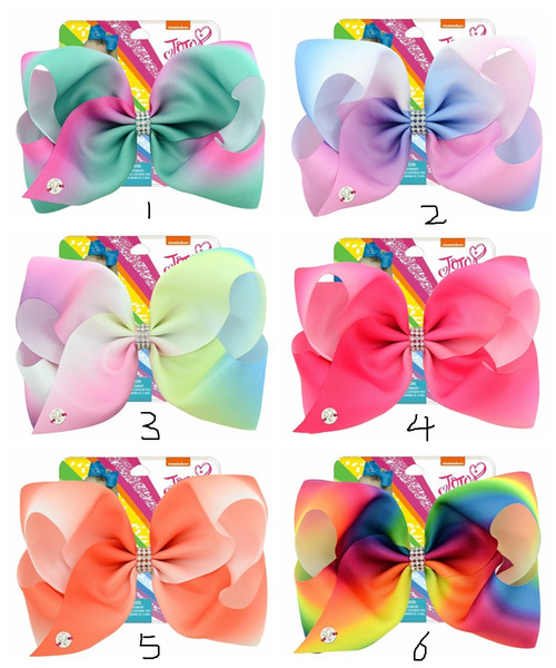 top popular 2018 new Jojo card paper rainbow gradient color unicorn children bow bag drill hairpin ribbed hairpin 832-j 2019